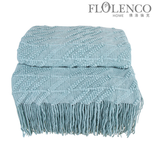 斜条毯-浅蓝