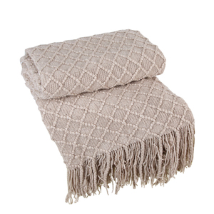 格子毯-驼色